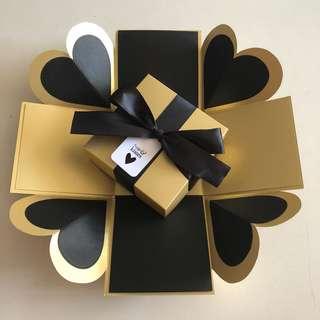 Diy explosion box in black & gold