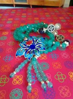 降母親節送媽媽老婆禮物冰種天河石十景泰藍藏銀項鍊