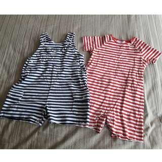 Set of 2 - The Little White Company Rompers