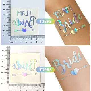 Temporary tatoo sticker for wedding / bachelorette party / bachelor party / silver color