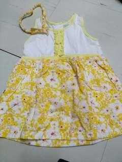 Tiny Tummies yellow floral dress