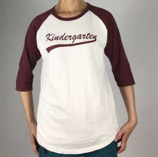 🚚 USA vintage-美國古著 kindergarten 7分棒球袖t