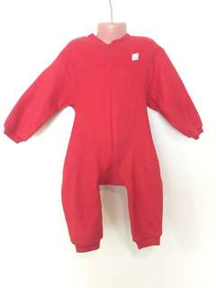 Red Fleece Frogsuit Onesie with Bear Detail 2T