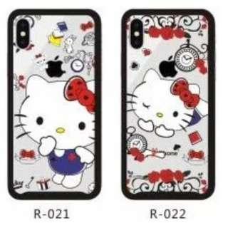 手機殼IPhone6/7/8/plus/X : HelloKitty吉蒂貓鋼化玻璃全包黑邊透明軟殼
