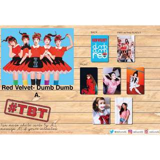 Red Velvet Dumb Dumb Dumb Unofficial Photocards