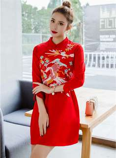 Cheongsam: Red Retro Korean Fashion Floral Embroidered A-Line Dress (S / M / L / XL) - OA/KKE011107