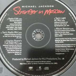 Michael Jackson Stranger In Moscow USA Promo CD single rare used History