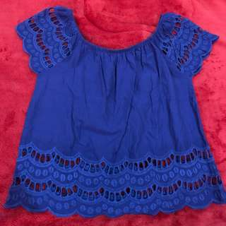 BLUE LACY TOP