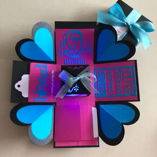 Explosion box with lighthouse, 4 wat fall in black, pink & blue
