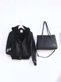 Leather bomber jacket with hood