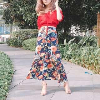 (PO) Floral Ruffled Midi Skirt