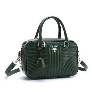 Prada Diagramme Crossbody Bag Green