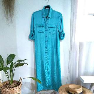 Long sleeves or 3/4 satin button-down dress or cover up