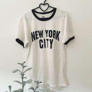New York City black & white tee shirt