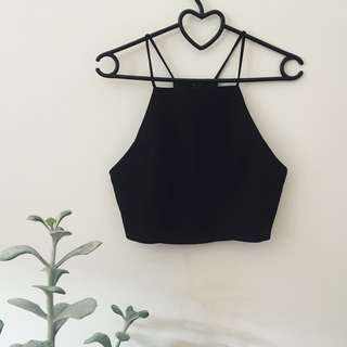 Black fitted crop top