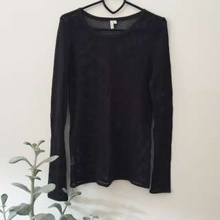Long sleeve grey mesh top