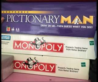 Monopoly x 2 and Pictionary