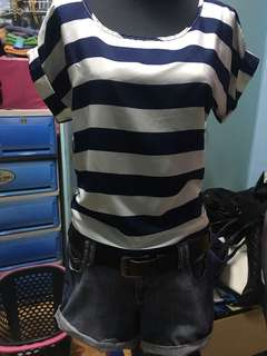 Korean blouse Navy stripes