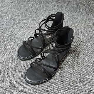 絨布韓版夏季羅馬露趾平底涼鞋女鞋(黑米兩色)