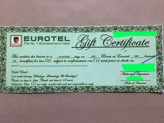 P4,000 worth GC at any Eurotel room