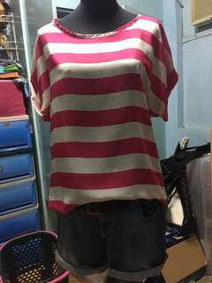 Korean blouse Pink stripes