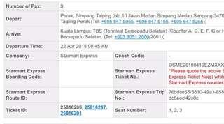 Tiket bas Starmart Taiping - Tbs 22/4/18 8.45am (3seat)
