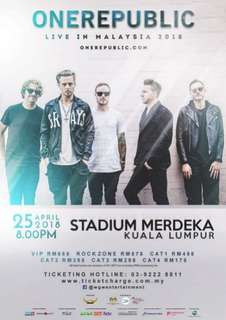 One Republic Live In Malaysia Tickets - Cat Rock Zone (2 tix available)