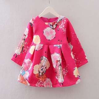 Girls Rose Pink Dress Abstract Pattern DS-0426
