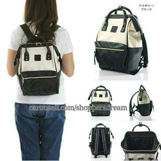 White Black Anello Backpack Leather - ready stock