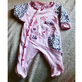 SALE! Cute Cat Pink Onesie for Newborn / Infant/ Baby Girl