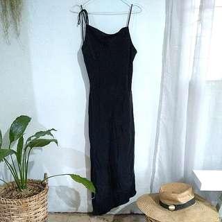 Asymmetrical hem semi-cowlneck black strappy dress