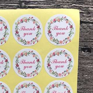 (Free Postage) 80 Pink Thank You Stickers - Thank You Seals - Label