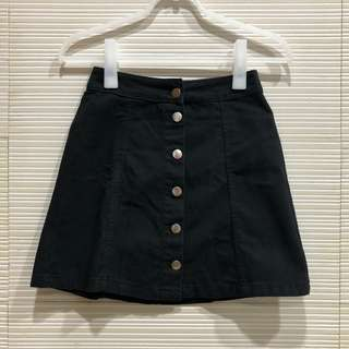 H&M Black Button Down Skirt
