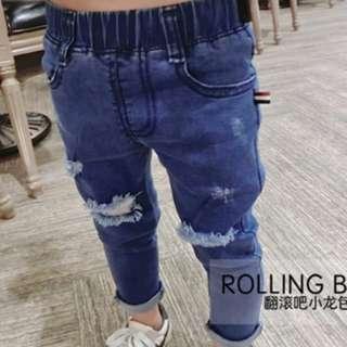Boys Ripped Denim Jeans w/ Elastic Waist 4y, 6y BJ-0081