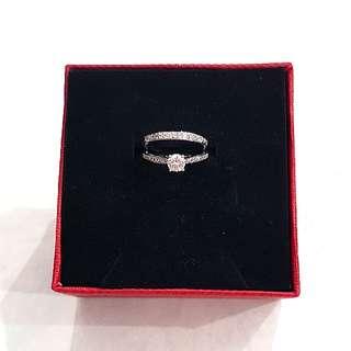 Platinum Plated Diamond Ring (1 set 2 rings)