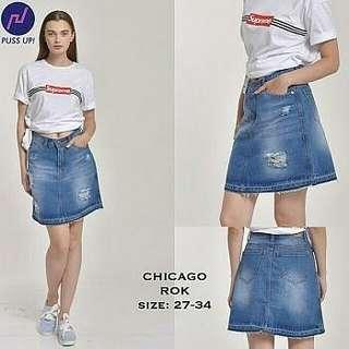 Chicago Rok - Skirt Jeans Destroy ( Merk Puss Up! )