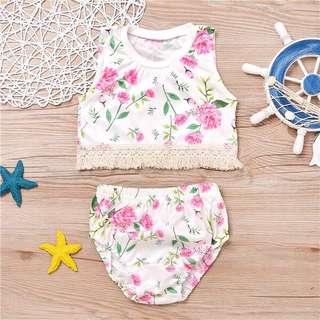 Instock - 2pc floral boho set, baby infant toddler girl children glad cute 123456789 lalalala