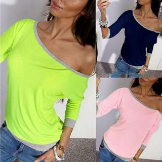 Fashion Women 3/4 sleeve shirt casual pullover blouse loose tee.