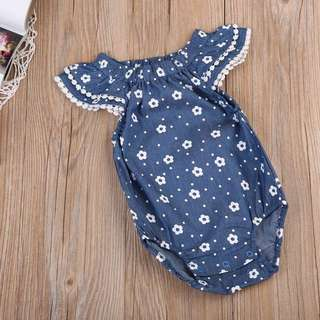 Instock - blue floral romper, baby infant toddler girl children cute glad 123456789 lalalala