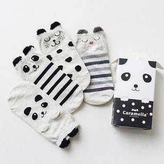 Instock - 4 pairs panda socks, baby infant toddler girl boy children glad cute 123456789 lalalala