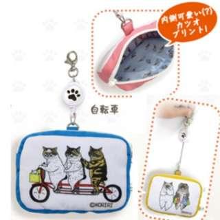 日本直送-日本品牌不思議貓小包 猫世界リール付きマルチケース 自転車