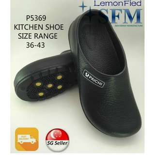 Kitchen Shoes P5369 Make In Taiwan slippers black SG Retailer Men Lady Safety
