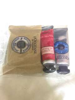 Loccitane handcream, nail cream, and milk gentle soap