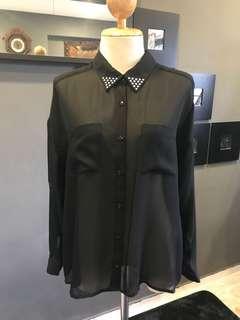 Black Sheer Shirt with Collar Studs