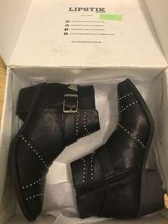 Studded Leather Boots Lipstik