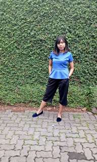 Blue peplum top / Blue Top / The executive