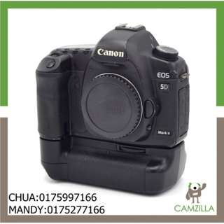 USED CANON 5D MARK II BODY NEW SHUTTER WITH BATTERY GRIP