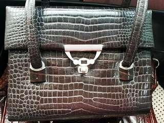 Vintage crocodile leather handbag
