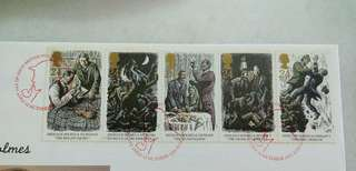 Great Britain UK England Sherlock Holmes Stamps & Special Postmark #1