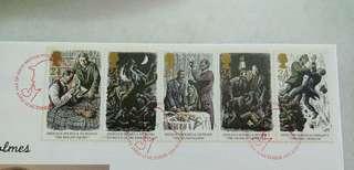 Great Britain UK England Sherlock Holmes Stamps & Special Postmark #1